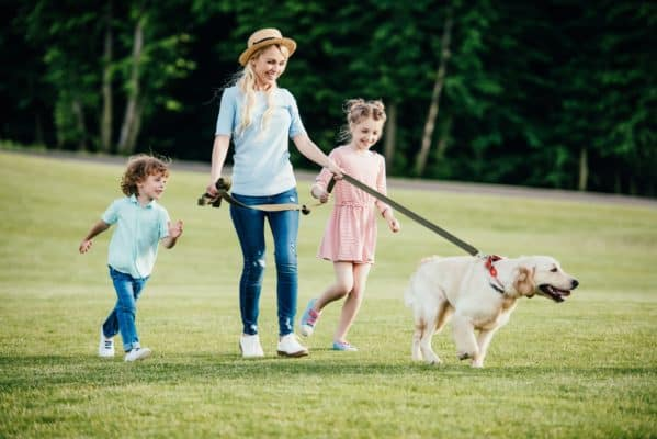 happy young mother with adorable kids and dog walking in park